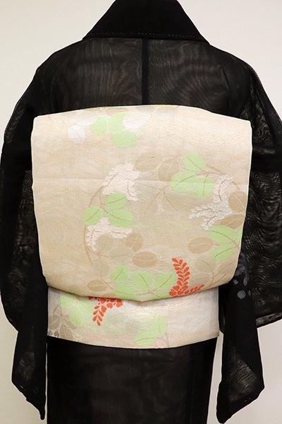 あおき【L-5135】紗 本袋帯 薄卵色 萩の丸文