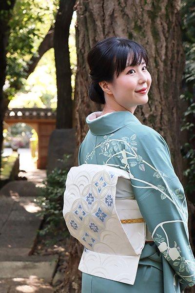 銀座【帯3429】西陣 川島織物製 織名古屋帯