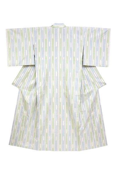銀座【着物2824】単衣紬 練色 絣縞
