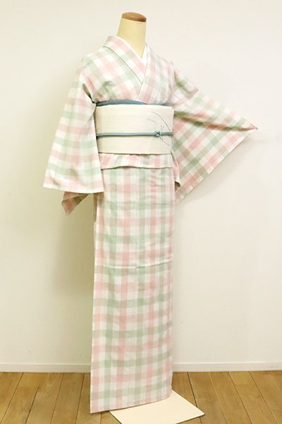 あおき【A-3115】(広め)紺仁製 片貝木綿 単衣 紬 格子 白色 (反端付)