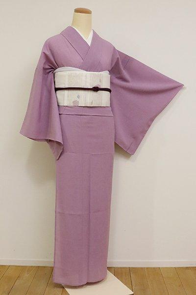 銀座【A-3116】(S・広め)きもの英製 夏紬 古代紫色 無地