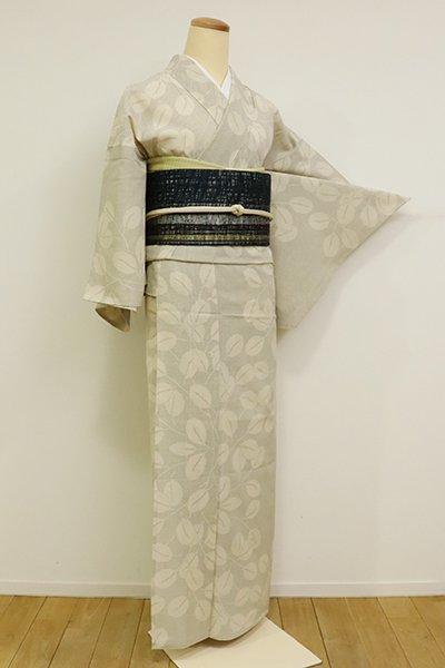 銀座【A-3117】(S・細め)夏大島紬 灰白色 萩の図