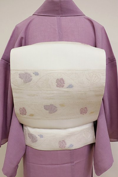 銀座【K-6836】夏 織名古屋帯 生成色 横段に唐花の図