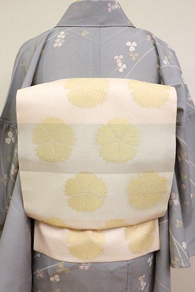 あおき【K-6837】紗 織名古屋帯 胡粉色 横段に撫子の図