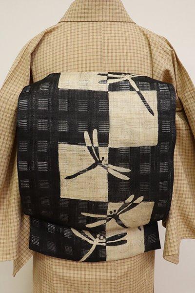 銀座【K-6838】絽麻地 染名古屋帯 黒色 市松に蜻蛉の図
