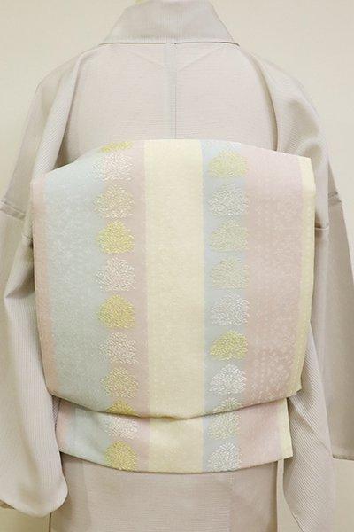 あおき【K-6839】西陣製 紗 織名古屋帯 竪縞に鶏頭文 練色(証紙付)