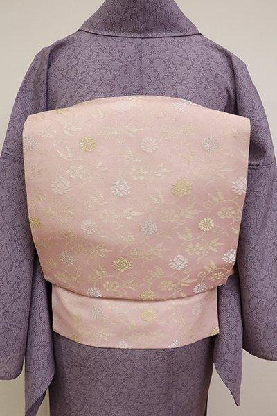銀座【K-6840】夏 織名古屋帯 薄柿色 笹蔓文