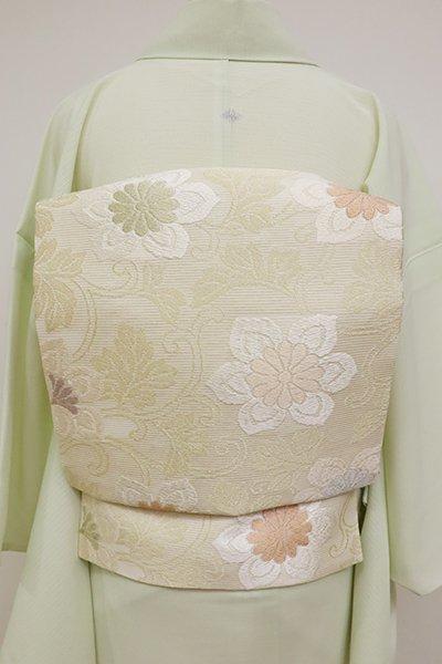 銀座【K-6842】絽 織名古屋帯 練色 唐花の図