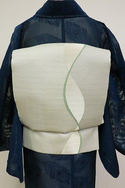 あおき【L-5139】西陣 洛陽織物製 夏 袋帯 蕎麦切色 流線の図(証紙付)