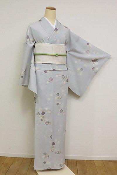 あおき【D-2543】絽 小紋 葵の図 灰青色(反端付)(N)