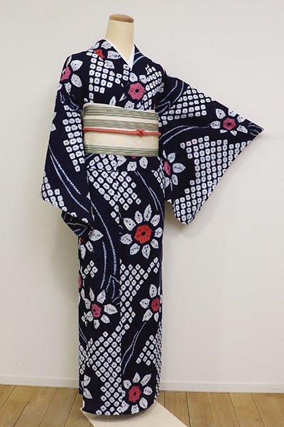 あおき【D-2544】木綿 絞り染め 浴衣 鉄紺色 花の図
