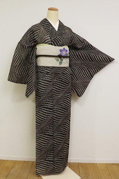 銀座【D-2546】夏芭蕉地 小紋 黒色 植物文(反端付)