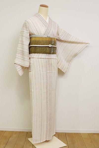 銀座【D-2547】(S)夏紬地 小紋 胡粉色 竪縞(銀座きしや扱い・反端付)