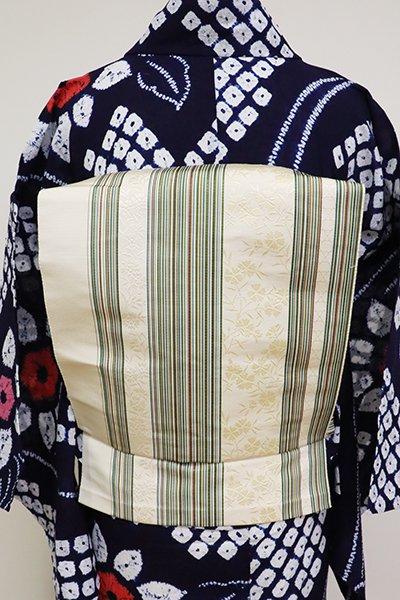 銀座【K-6844 】博多織  開き八寸名古屋帯 薄卵色 竪縞に撫子(三越扱い)