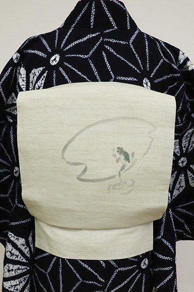 あおき【K-6846】夏 染名古屋帯 灰黄緑色 蛙の図