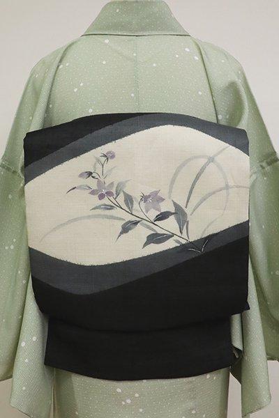 あおき【K-6847】夏紬地 染名古屋帯 黒色 桔梗の図