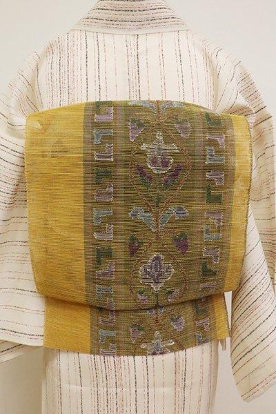 銀座【K-6849】西陣 帯屋捨松製 紗 八寸名古屋帯 山吹茶色 洋花装飾文(証紙付)