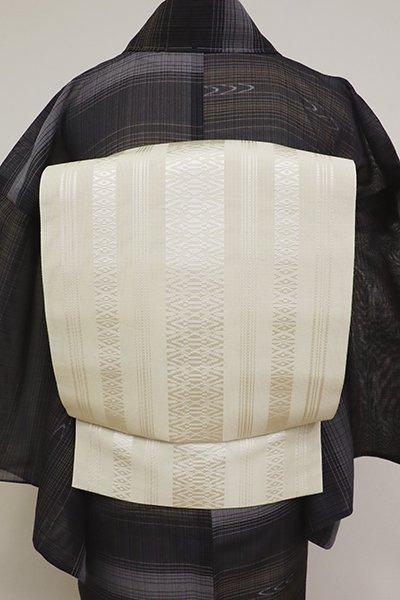 銀座【K-6850】本場筑前博多織 紗献上 八寸名古屋帯 象牙色(証紙付)(N)