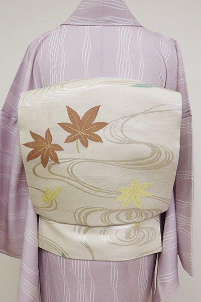 銀座【K-6851】絽 織名古屋帯 灰白色 流水に楓