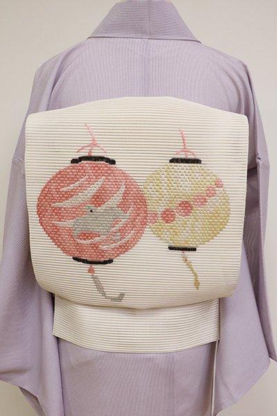 銀座【K-6852】絽綴れ 刺繍 開き名古屋帯 象牙色 提灯の図(落款入)
