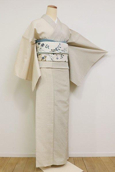 銀座【A-3124】(広め)単衣 本塩沢 やまだ織 練色 亀甲文