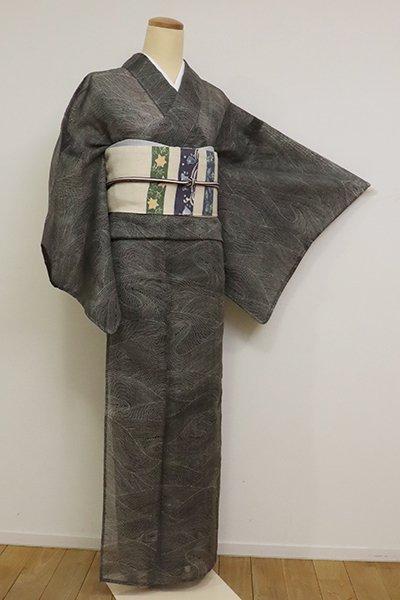 【D-2550】絹芭蕉地 小紋 黒色 波文(反端付)