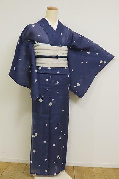 【D-2551】絹紅梅 紺青色 水玉文
