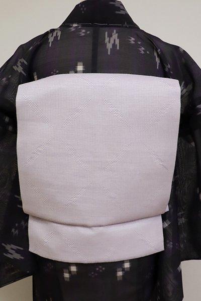 銀座【K-6854】本麻夏九寸名古屋帯 白藤色 菱文(長尺)(N)