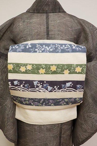 銀座【K-6855】絽麻 染名古屋帯 練色 横段に千鳥や草花