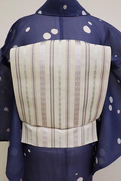 銀座【K-6856】博多織 八寸名古屋帯 象牙色 紗献上