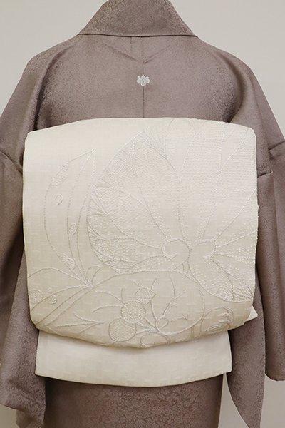 あおき【L-5141】夏 刺繍 洒落袋帯 生成色 葵の図(証紙付)
