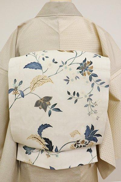 銀座【L-5142】生紬地 染洒落袋帯 象牙色 花唐草の図