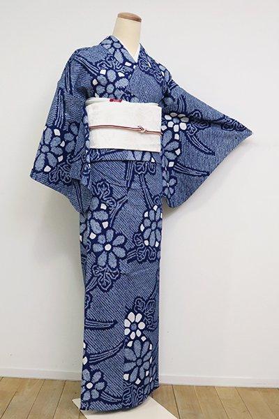 あおき【D-2552】木綿 絞り染め浴衣 紺青色 花の図