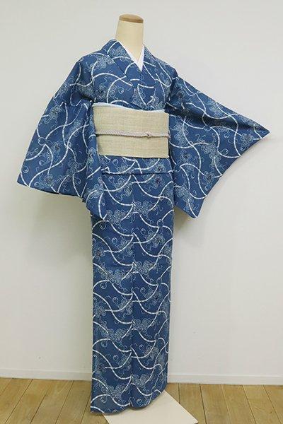 銀座【D-2553】竺仙製 綿紅梅 藍色 分銅繋ぎに瓢箪の図(反端付)