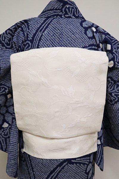 銀座【K-6859】紋綴 八寸名古屋帯 象牙色 装飾花唐草文
