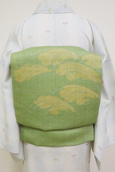 銀座【K-6860】二部式 夏紬地 染名古屋帯 老竹色 芒の図(落款入)