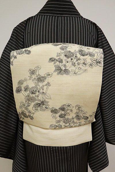あおき【K-6861】麻地 開き 染名古屋帯 砂色 花の図