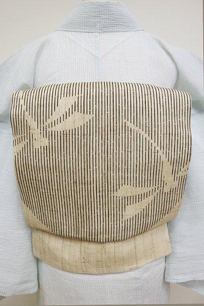 銀座【K-6863】生平麻地 染名古屋帯 浅黄色 円に蜻蛉の図