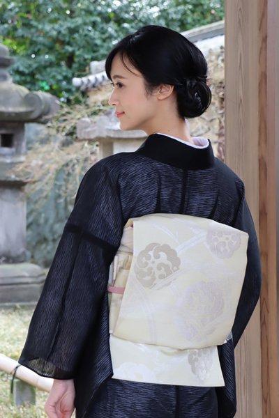 銀座【帯3449】西陣 川島織物製 絽名古屋帯 鳥の子色 波の丸 (西陣証紙付)