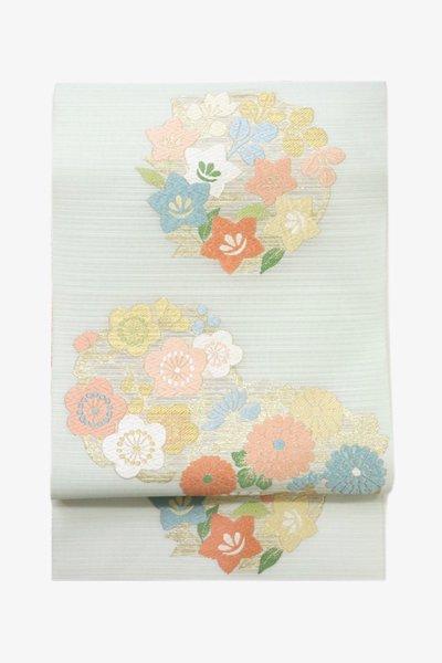 【帯3450】西陣 藤原製 絽 袋帯 花の丸文 (西陣証紙付)