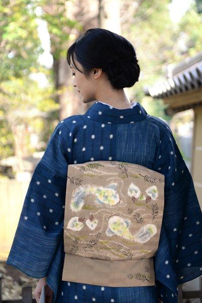 【帯3453】鈴木紀絵作 麻地染名古屋帯「ひょうたんなまず」