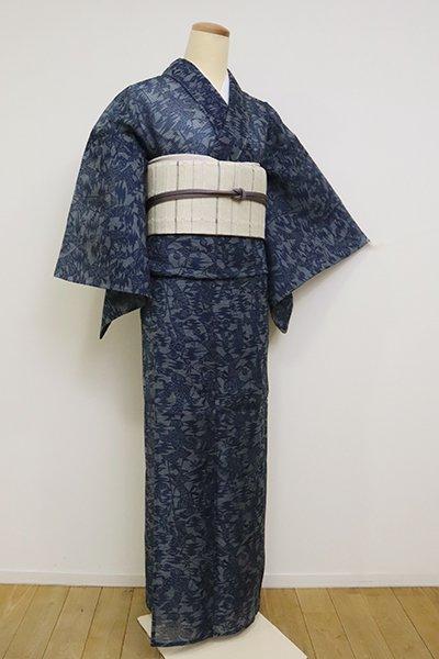 【D-2555】(細め)絹紅梅 濃藍色 人物文