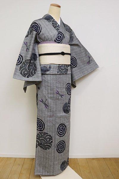 銀座【D-2556】(S)綿麻しじら 浴衣 灰色 渦巻きや蜻蛉の図