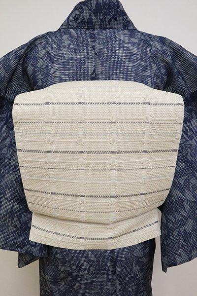銀座【K-6868】織八寸名古屋帯 絹鼠色 格子文(長尺)