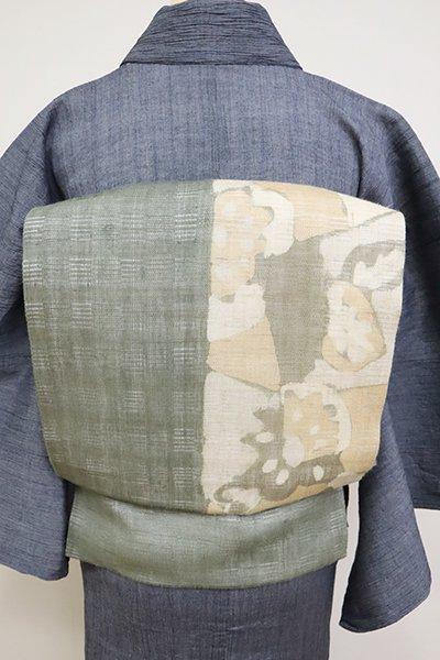 銀座【K-6869】小千谷 絽麻地 染名古屋帯 柳煤竹色 抽象文(証紙付)
