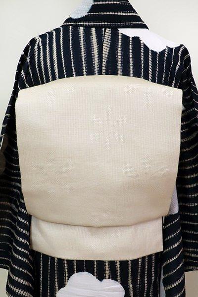 あおき【K-6870】桐生織 麻地 織名古屋帯 浅黄色 花文(証紙付)