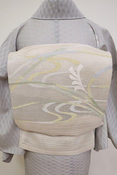 銀座【K-6871】絽綴れ 八寸名古屋帯 練色 流水に芒の図