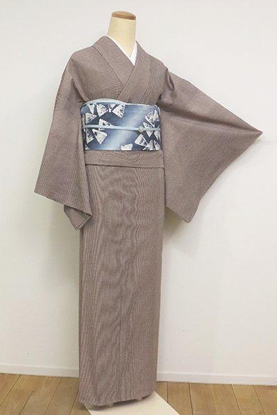 あおき【A-3130】(細め)単衣 綿紬  胡桃染色 竪縞(反端付)