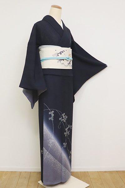 銀座【B-2617】変わり絽 付下げ 藍鉄色 瓢箪の図