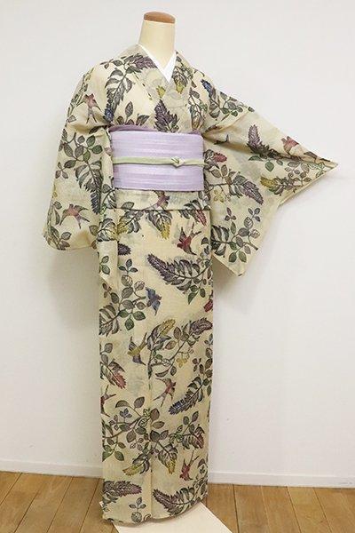 銀座【D-2557】絹紅梅 江戸紅型 小紋 浅黄色 花鳥文(反端付)